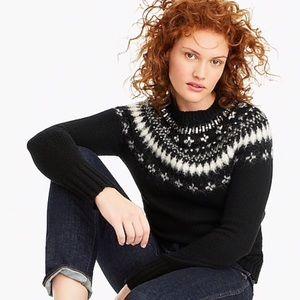 J. Crew Black Wool Fair Isle Crew Neck Sweater S